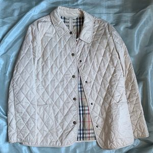 BURBERRY CREME COLOR QUILTED LIGHTWEIGHT COAT